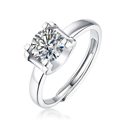 Moissanite Stone Adjustable Silver Rings Jewelry at Jewels Genie