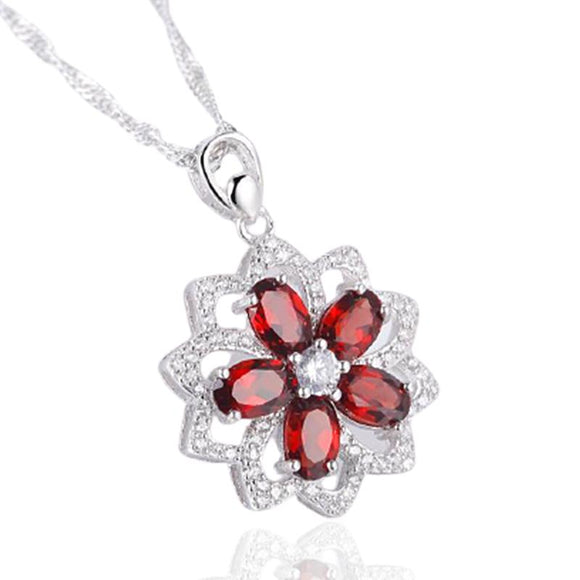 Natural Garnet Gemstone Pendant Necklace Jewelry at Jewels Genie