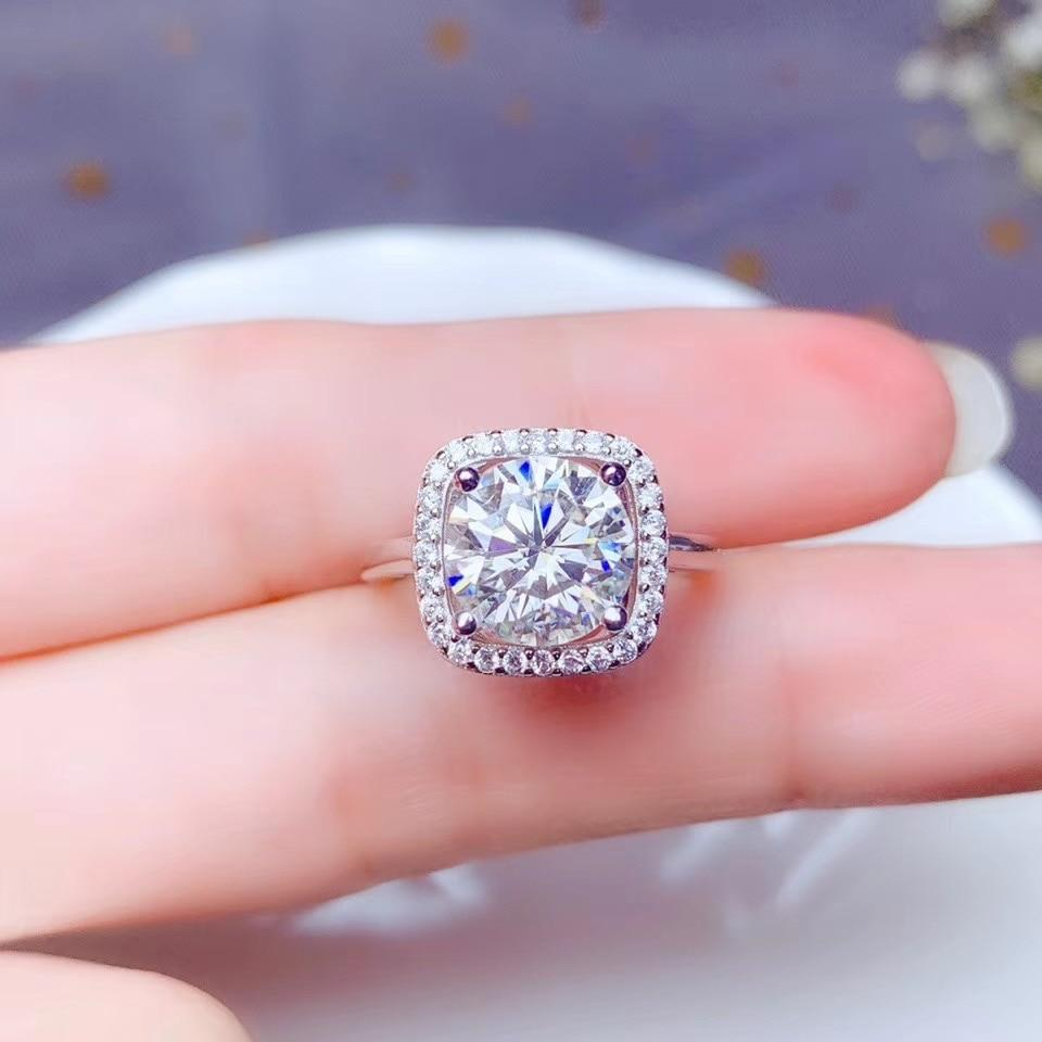 Natural Moissanite Silver Ring