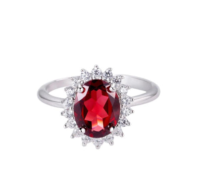 Oval Red Garnet Gemstone Silver Ring Jewelry at Jewels Genie