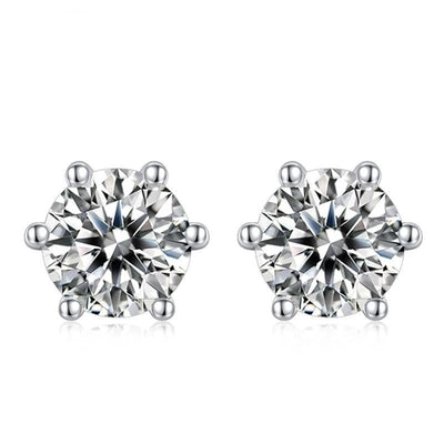 Round Moissanite Silver Earrings Jewelry at Jewels Genie