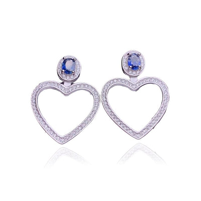 September Birthstone Sapphire Silver Earrings Jewelry at Jewels Genie
