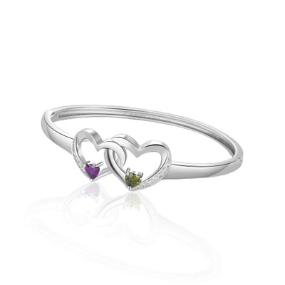Silver Bracelet with Intertwined Hearts Jewelry at Jewels Genie