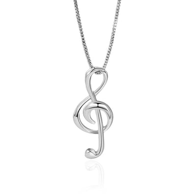 Silver Necklace with Musical Note Pendant Jewelry at Jewels Genie