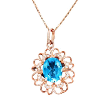 Silver Necklaces with Blue Topaz Pendant Jewelry at Jewels Genie