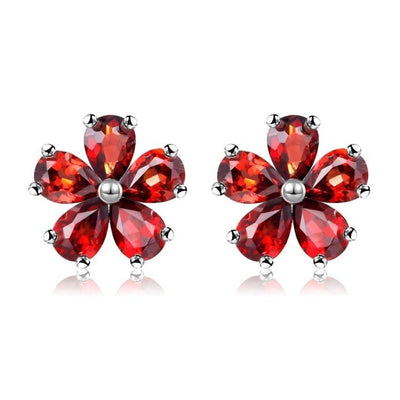 Silver Stud Earring with Red Garnet Stone Jewelry at Jewels Genie