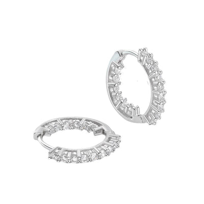 Sparkling Cubic Zirconia Silver Earrings Jewelry at Jewels Genie