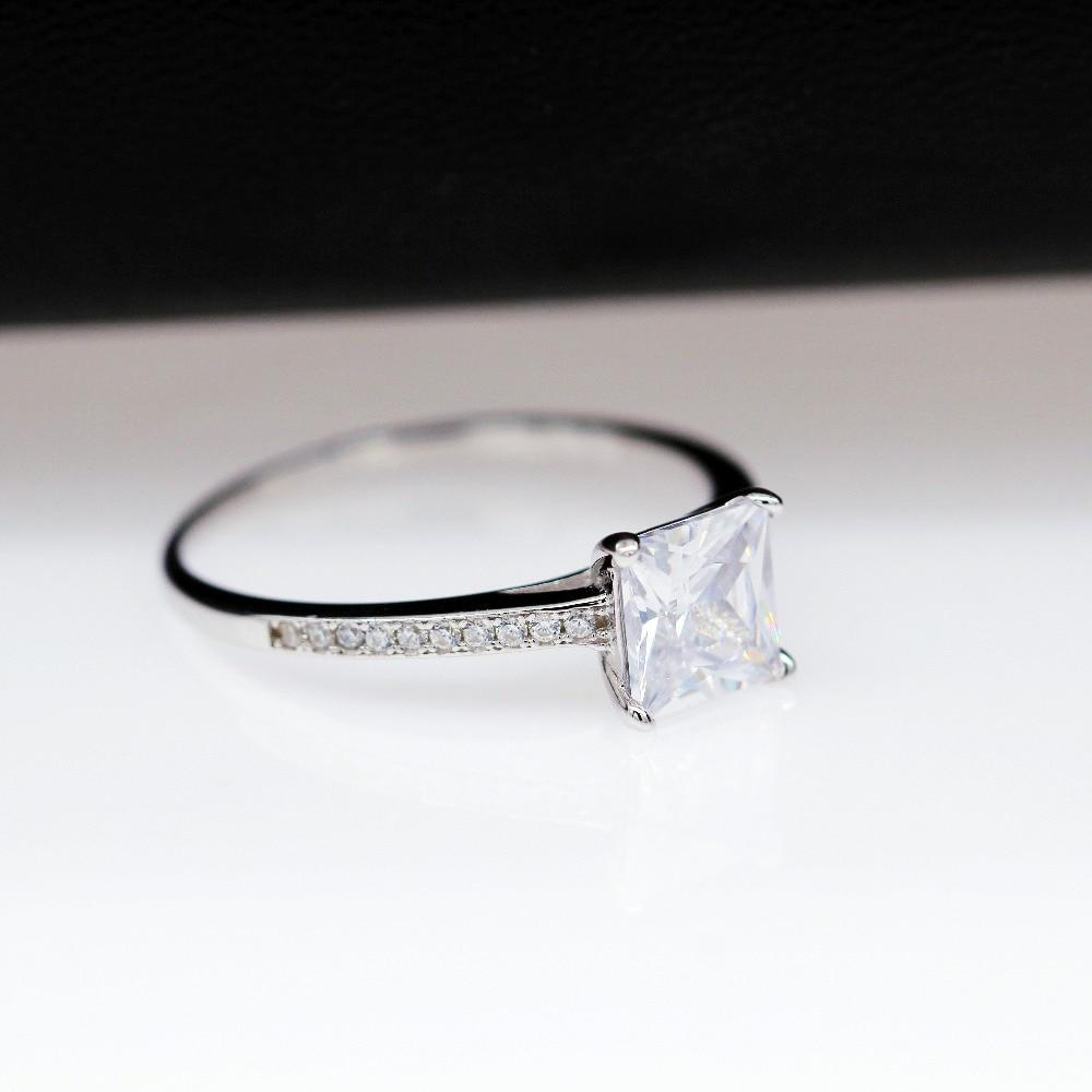 Square Cut Crystal Silver Rings