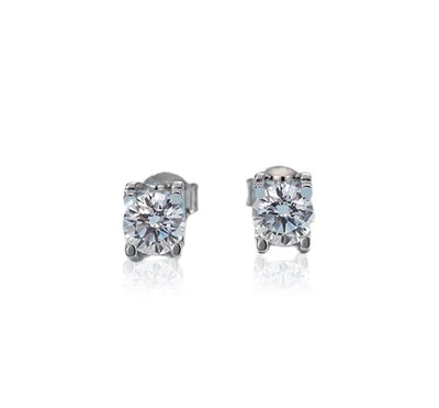 Square Moissanite Diamond Silver Earrings Jewelry at Jewels Genie