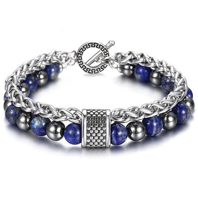 Stainless Steel Bracelets with Lapis Lazuli Stone Jewelry at Jewels Genie Color: Lapis Lazuli/Hematite USA