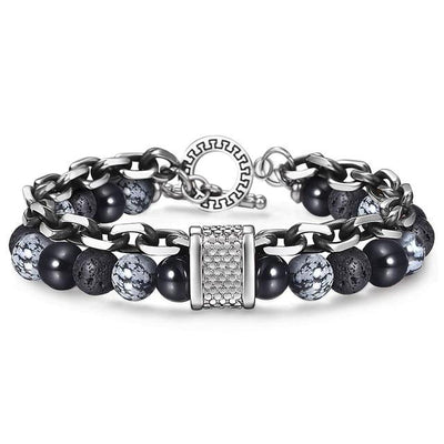 Stainless Steel Bracelets with Onyx, Volcanic Rocks and Obsidian Jewelry at Jewels Genie Color: Black Onyx/Obsidian USA