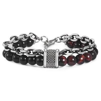 Stainless Steel Bracelets with Red Tiger Stone Jewelry at Jewels Genie Color: Red Tiger Eye USA
