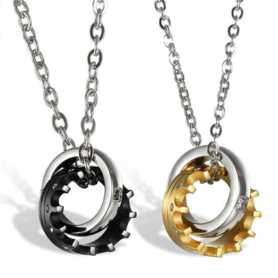 Stainless Steel Lovers Pendants Necklaces Jewelry at Jewels Genie Color: Black/Gold USA