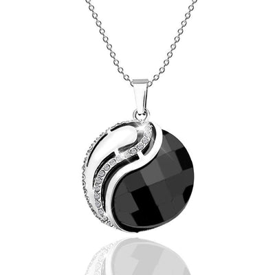 Stainless Steel Yin Yang Pendant Necklace Jewelry at Jewels Genie Color: Black USA