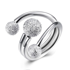 Surround Design Ball Silver Rings