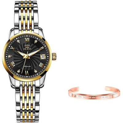 Women Automatic Mechanical Watch Jewelry at Jewels Genie Color: Black/Gold Silver USA
