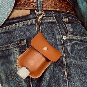 Genuine Tan Leather - Sanitizer holder with 50ml refill bottle