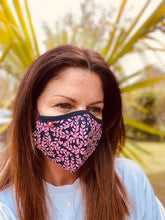 Load image into Gallery viewer, SUMMER HOLIDAY - PINK VINE - Double layer, cotton jersey face covering/mask with Filter.