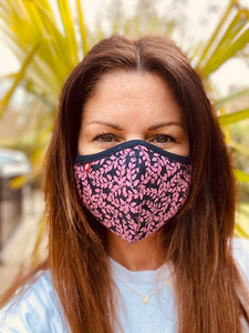 SUMMER HOLIDAY - PINK VINE - Double layer, cotton jersey face covering/mask with Filter.