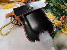 Load image into Gallery viewer, Genuine Black Leather - Sanitizer holder with 50ml refill bottle Gift