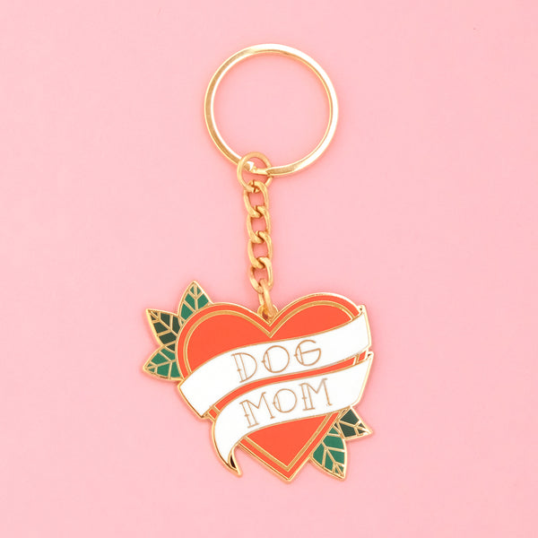 DOG MOM TATTOO HEART ENAMEL KEYCHAIN
