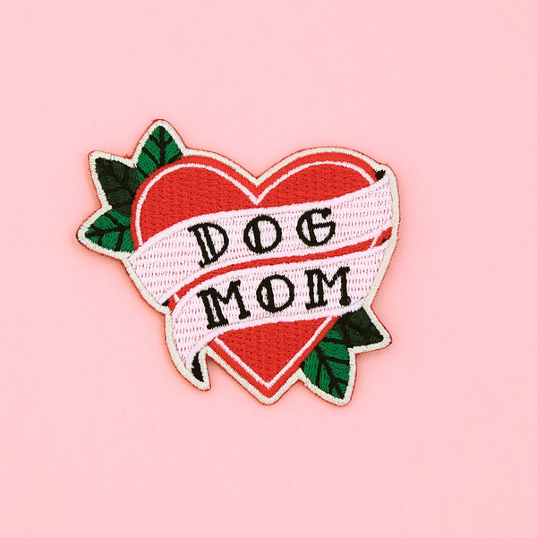 DOG MOM TATTOO HEART IRON-ON PATCH