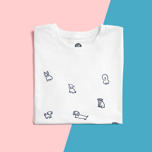 Embroidered Dogs t-shirt