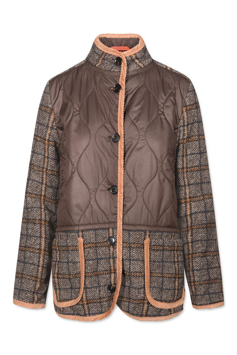 KARINA QUILTED CHECK BROWN BEIGE