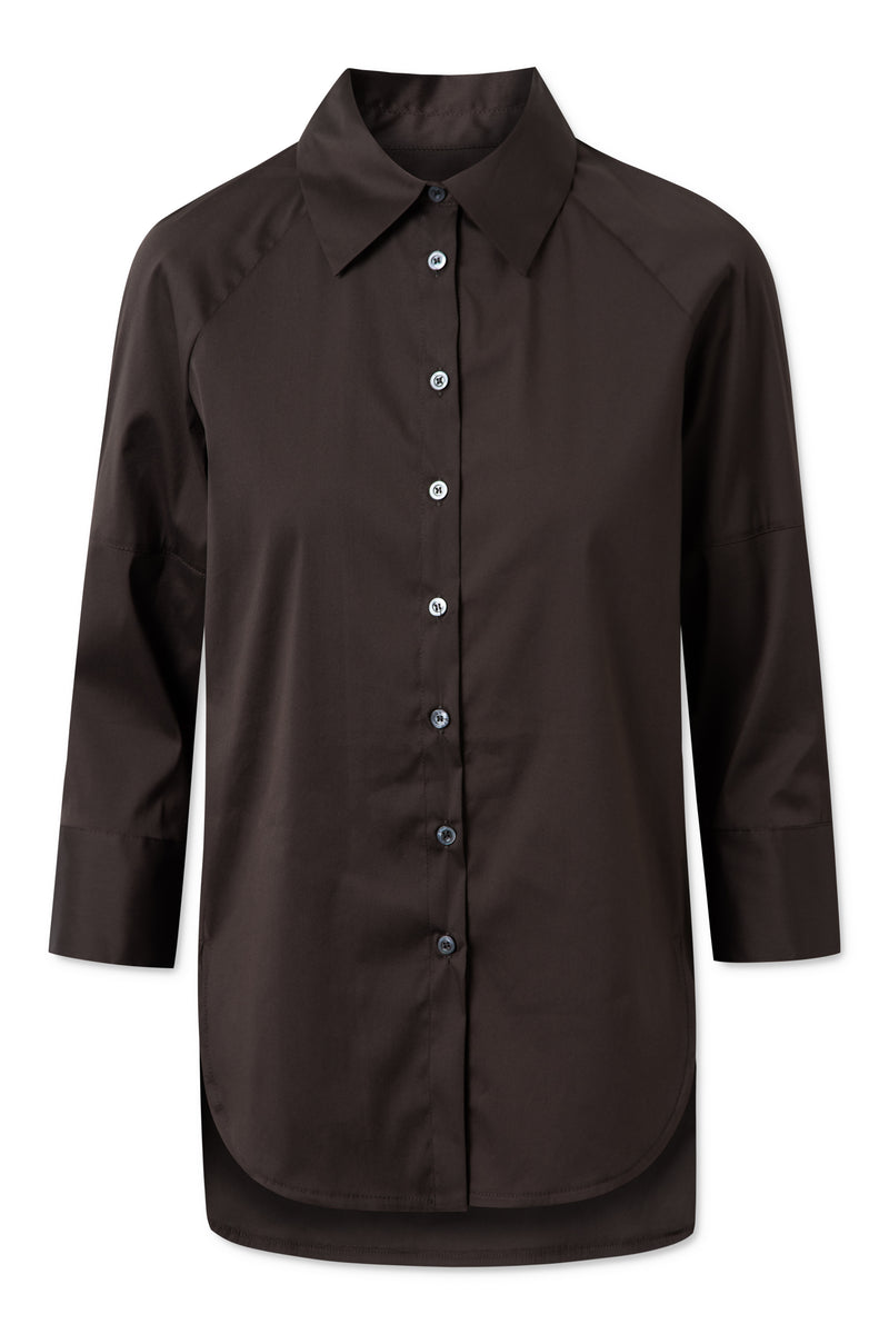 TRINE FANCY POPLIN DARK BROWN