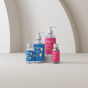a group shot of the Vital Life Family hand sanitiser gel collection