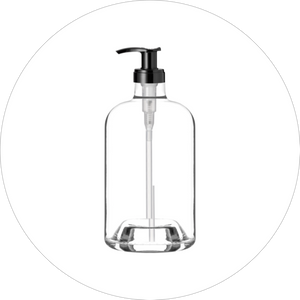 premium round glass bottle with a black pump top