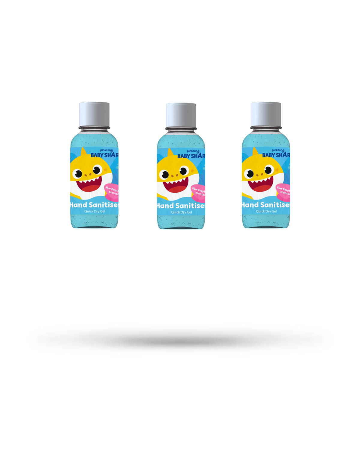 3 x 50ml Baby Shark blue raspberry scented hand sanitiser gel bundle from Vital Life