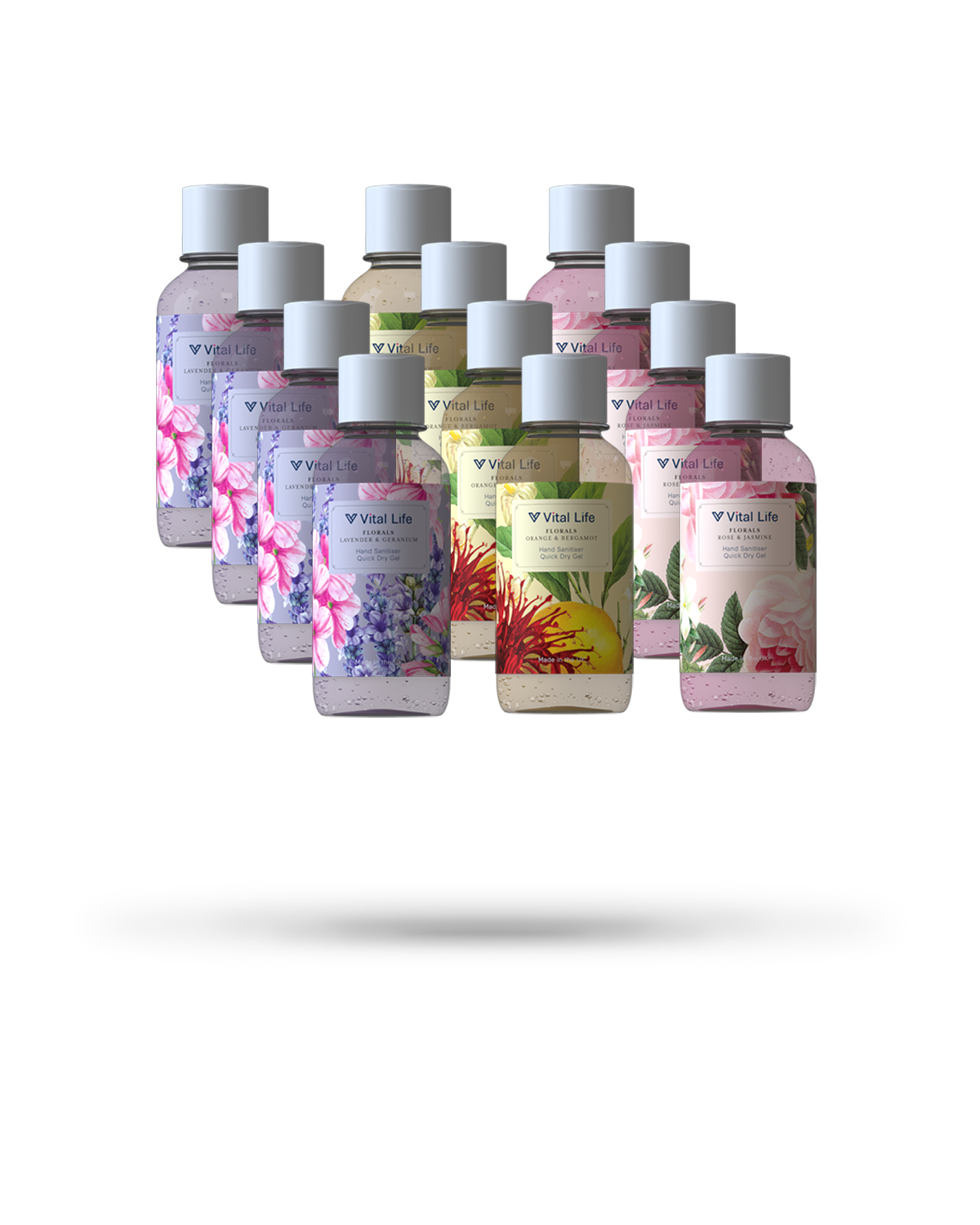 Mixed Bundle Hand Sanitiser Gel - 12 x 50ml - Floral Range