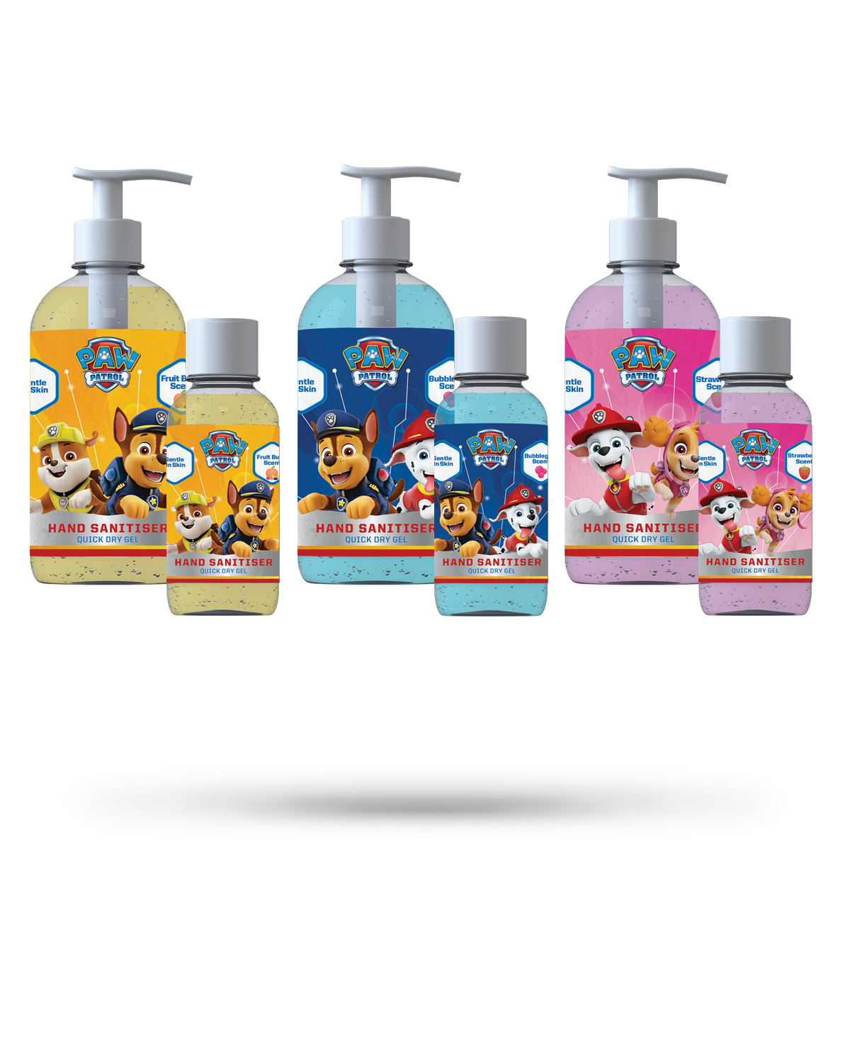 250ml + 50ml PAW Patrol bundle of Bubblegum, Fruit Burst & Strawberry scented hand sanitiser gel from Vital Life