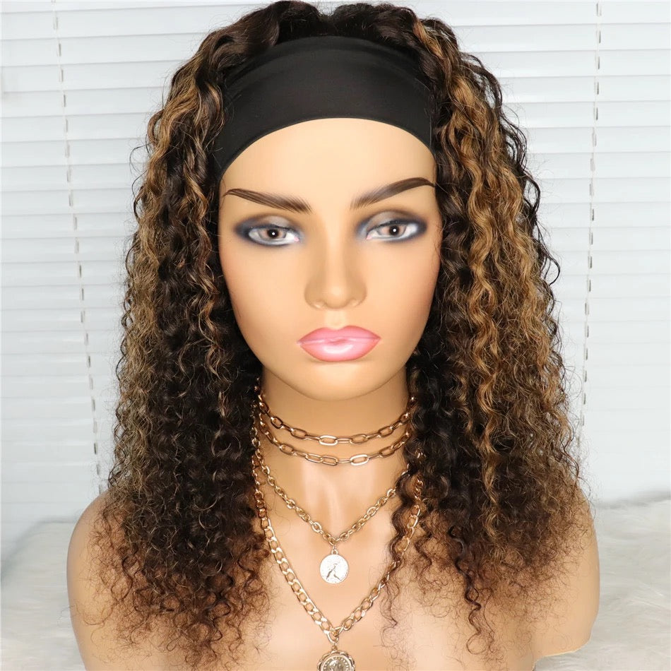 Kinky Curly Headband Wig with Highlights