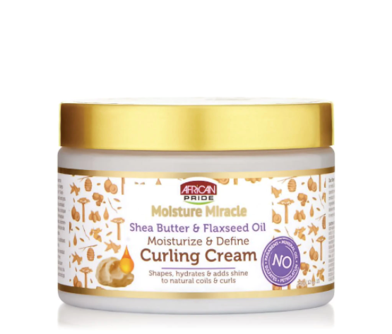 African Pride Moisture Miracle Shea Butter & Flaxseed Oil Curling Cream (12 oz.)