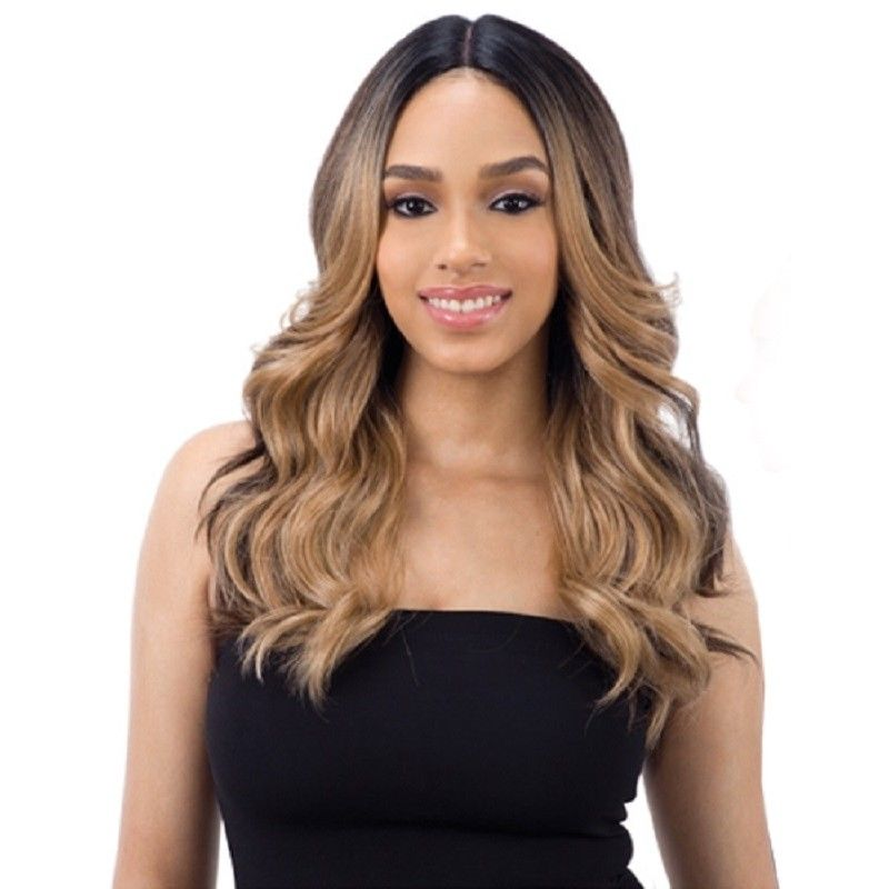 FREETRESS EQUAL 5 INCH LACE PART LONG WAVY CURLY HAIR WIG VALENTINO