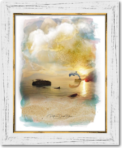 SUN SHINING DAY - Framed Canvas White Rustic