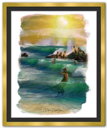 MEMBERS OF THE OCEAN CLUB -  Framed Fine Art Paper Prints Mirror Gold