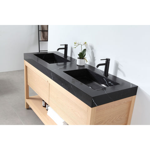 "Image of Karton Republic Bibury 60"" Whitewash Oak Freestanding Modern Bathroom Vanity w/ Sink VABIBWO60FD"