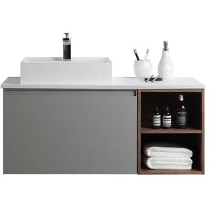 "Karton Republic Manarola 42"" Light Gray Wall mount Modern Bathroom Vanity w/Sink (Open Shelves) VAMANRA42WMQZ"