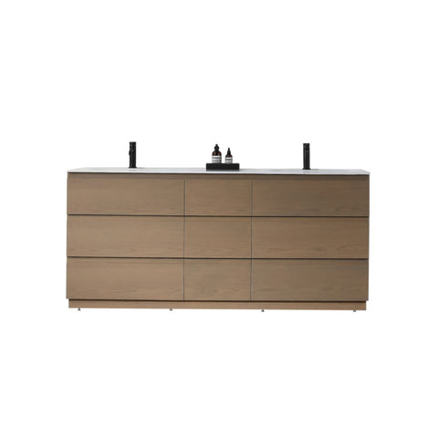 "Karton Republic Rothenburg 72"" Golden Oak Freestanding Modern Bathroom Vanity w/Sink VAROTGO72FD"