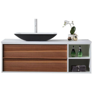 "Karton Republic Goreme 48"" Walnut/White Oak Wall Mount Modern Bathroom Vanity w/ Sink VAGORWW48WM"