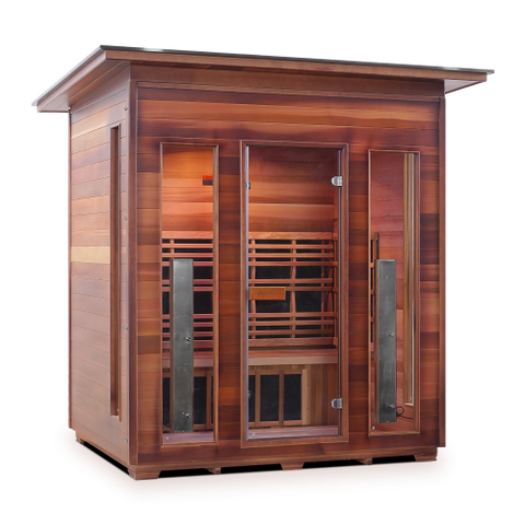 Image of Enlighten Rustic - 4 Person Indoor/Outdoor Slope Infrared Sauna 37378