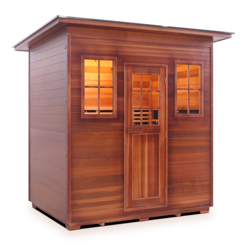 Enlighten Rustic - 5 Person Indoor/Outdoor Slope Infrared Sauna 39378