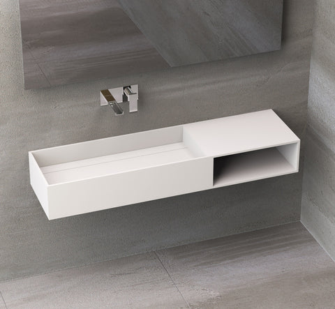 Ideavit Solidpure-140 Wall Mount Floating Vanity Bathroom Sink and Shelf PS IDV 278601