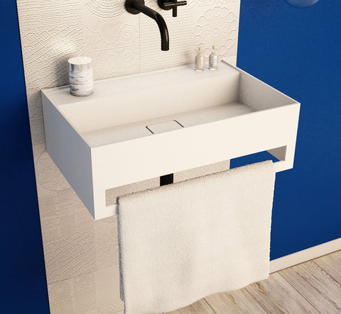 Image of Ideavit Solidbliss-60TB Wall Mount Floating Bathroom Sink W/Towel Bar PS IDV 290309