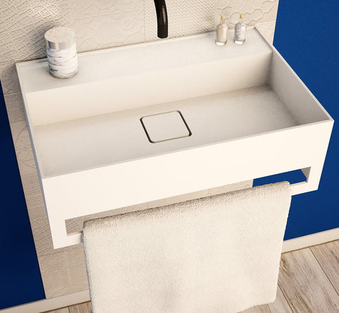 Ideavit Solidbliss-60TB Wall Mount Floating Bathroom Sink W/Towel Bar PS IDV 290309
