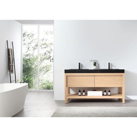 "Karton Republic Bibury 60"" Whitewash Oak Freestanding Modern Bathroom Vanity w/ Sink VABIBWO60FD"