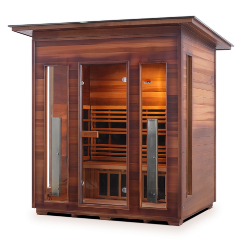 Enlighten Rustic - 4 Person Indoor/Outdoor Slope Infrared Sauna 37378